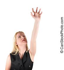 白, 女, の上, 手を伸ばす