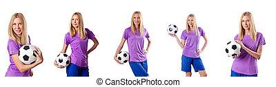 白, 女, フットボールをする