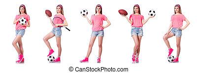 白, 女, フットボール