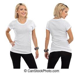白, 女, ワイシャツ, ブロンド, ブランク