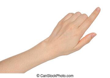 白, 女, 背景, 手