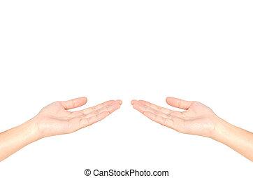 白, 女, 開いた, 背景, 手
