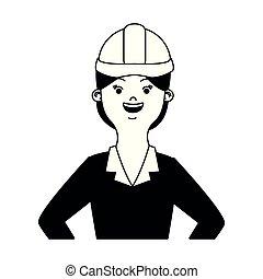 白, 女, 黒, 漫画, エンジニア