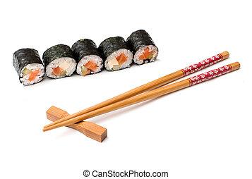 白, 寿司, 箸, 背景