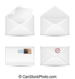 白, 封筒, セット