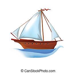 白, 帆, 帆走しているボート