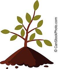 白, 平ら, 苗木, 若い, スタイル, 地面, ベクトル, 木, イラスト, 背景