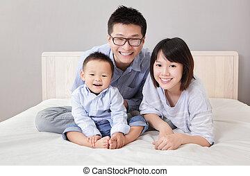 白, 幸せ, ベッド, 家族, モデル