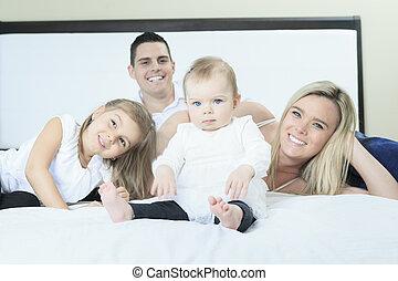 白, 幸せ, ベッド, 家族, 寝室
