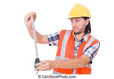 白, 建築作業員, 隔離された, tape-line