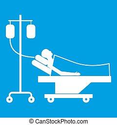 白, 患者, 滴り, ベッド, アイコン