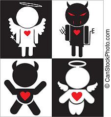 白, 悪魔, 黒, 天使, アイコン