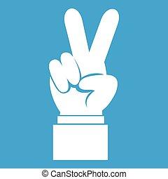 白, 手, 勝利, アイコン, 印