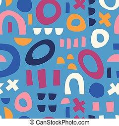 白, 抽象的, ピンク, 子供, 包装, 装飾, 現代, ベクトル, 要素, 幸せ, 生地, 幾何学的, 使用, 形, print., モザイク, 子供, バックグラウンド。, 青, 困惑, オレンジ, seamless, 現代, pattern.