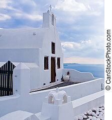 白, 教会, oia, santorini, ギリシャ