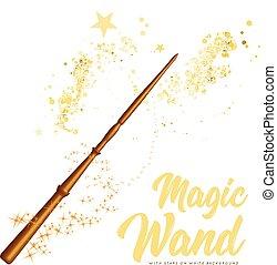 白, 星, 魔法の 細い棒, 背景