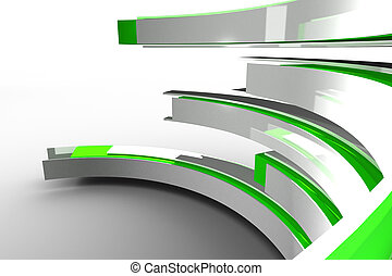 白, 曲がった, 構造, 緑