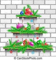 白, 棚, 木, れんが, クリスマス