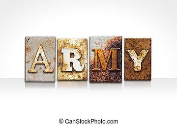 白, 概念, 隔離された, 凸版印刷, 軍隊