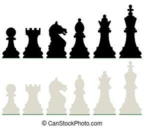 白, 横列, 黒, チェス小片