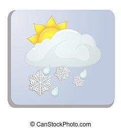 白, 気象学, 隔離された, アイコン
