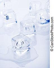 白, 溶かされる, 背景, 氷, 小片