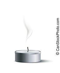 白, 煙, お茶, 隔離された, ろうそく, ベクトル, element., デザイン, 消された, バックグラウンド。