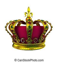 白, 王冠, 隔離された, 金