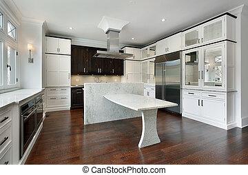 白, 現代, cabinetry, 台所