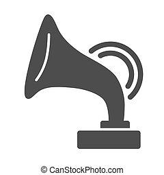 白, 祝祭, 音楽, 網, 蓄音機, 背景, 固体, design., 印, ベクトル, アイコン, 骨董品, 概念, glyph, graphics., 概念, 賞, モビール, アイコン, スタイル