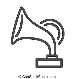 白, 祝祭, 音楽, 網, 蓄音機, 背景, design., 印, ベクトル, アイコン, 骨董品, 概念, アウトライン, graphics., 概念, 線, 賞, モビール, アイコン, スタイル