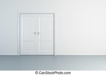 白, 空, ドア, 部屋, 閉じられた