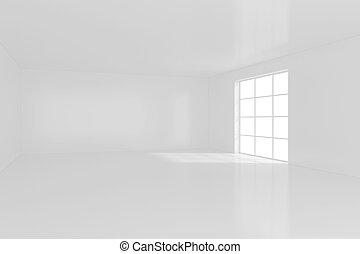 白, 空, 内部, ∥で∥, 窓。, 3d, rendering.