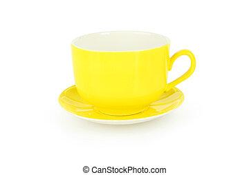 白, 空, 隔離された, 黄色, カップ