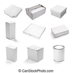 白, 箱, ブランク, 容器