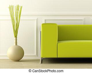 白, 緑, 部屋, ソファー