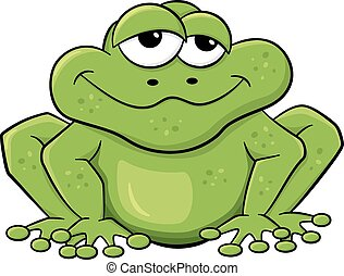 白, 緑, 隔離された, カエル, 漫画