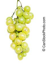 白, 緑, 隔離された, ブドウ