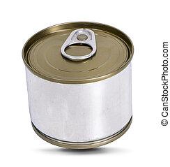 白, 缶, 背景, 隔離された