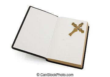 白, 聖書, 開いた, 交差点, 隔離された
