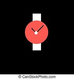 白, 腕時計, 赤, 革ひも