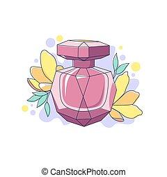 白, 芳香, 香水, 花, びん, 漫画, 背景, 隔離された