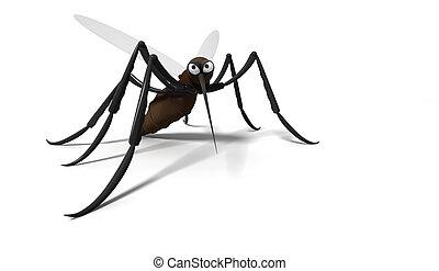 白, 蚊, 背景, 3d