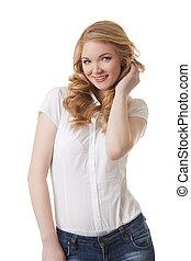 白, 衣服, 隔離された, 偶然, 微笑, モデル