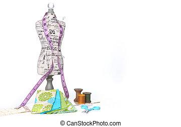 白, 裁縫, キルトにすること, 糸