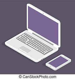 白, 装置, スクリーン, ブランク, バックグラウンド。, 暗い, 小道具, 電子, 現代, ラップトップ, 電話
