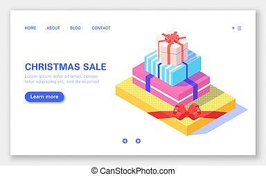 白, 贈り物の箱, バックグラウンド。, banner., セット, セール, クリスマス