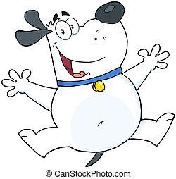 白, 跳躍, 犬, 脂肪, 幸せ