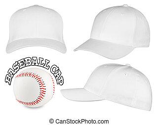 白, 野球帽, セット
