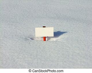 白, 金属, 看板, 中に, 雪, 背景